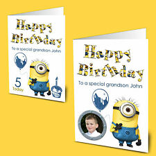 Personalised Minions Photo Birthday Card Nephew Grandson 3rd 5th 6th 8th any age