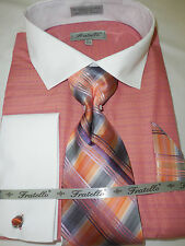 Dress Shirt for Men Coral & White Multi-Dimensional Color Gorgeous Tie & Hanky