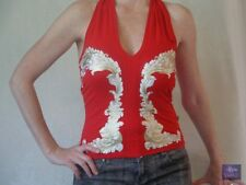 Auth JUST CAVALLI Roberto Cavalli Sz S Red Graphic Halter Top 301.5