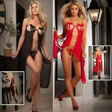 Sexy Long Gown Nightie Babydoll Lingerie Sheer Size 8 10 Black Red & G-String