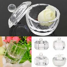 Unique Nail Art Acrylic Crystal Clear Glass Dappen Dish Liquid Powder Container
