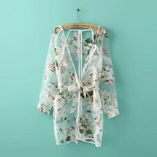 New Women Sun protection clothes Floral Sheer See-through cardigan Coat Jacket