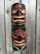 Fair Trade Hand Carved Made Wooden Maori Tiki Mask Wall Art Carving Plaque 40cm
