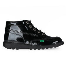 Youths Kickers Kick Hi Black Patent Leather Boots