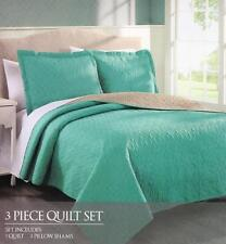 New! Dexter 3 Pc Reversible Bedspread Quilt Set Size Queen/ King Turquoise Taupe