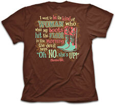 Oh No She's Up Boots Country Cowgirl Kerusso Christian Womens Brown T-Shirt