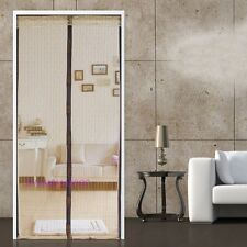 Stripe Door Net Mesh Screen Magnetic Mosquito Insect Fly Guard Curtain 2M Beige