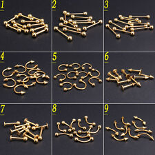 Wholesale Gold Body Piercing Jewellery Eyebrow Tongue Bar Labret Lip Nose Rings
