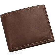 100% Genuine Leather Bifold Wallet Topstitching Levi's Brown Black Men Purse Bag