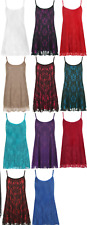 Womens Ladies Plus Size Floral Lace Camisole Strappy Cami Flared Swing Vest Top