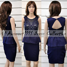 Sexy Sleeveless Blue Peplum Formal Evening Cocktail Party Club Bodycon Fit Dress