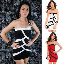 Scallop Pattern Strapless Sexy Mini Stretch Bodycon Evening Clubwear Party Dress