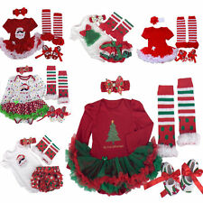 Newborn Infant Baby Girls Christmas Party Romper Dress Sets 4pc Outfits Clothes