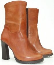 PERGAMO Leather boots with high heel and platform Made in Italy High Quality