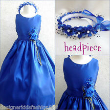 Lovely Royal blue graduation wedding formal flower girl party dress all sizes