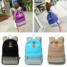 Women Girl Canvas Shoulder School Bag Bookbag Backpack Travel Rucksack Handbag