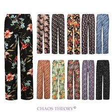 Womens Ladies New Floral Print Wide Leg Palazzo Pants Trousers Plus Sizes 8-26