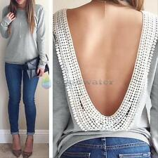 Backless Summer Fashion Women Casual Long Sleeve Lace Blouse T Shirt Top SEXY