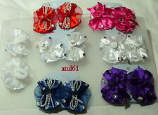 BABY GIRL KIDS BOW DIAMONTE BEADS HAIR PONIES BOBBLES FASHION ACCESSORIES NEW
