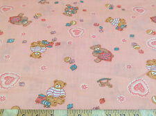 Discount Fabric Quilting Cotton Teddy Bears Pink CT039