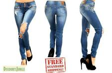 Bonage Women's BLUE Denim Stretch JEANS Destroy Skinny Ripped Distressed Pants