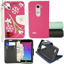 For straight Talk LG Destiny L21G Wallet Case with Dazzling Eiffel Tower