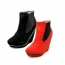 Ladies Wedge Heel Platform Ankle boots with patent edging