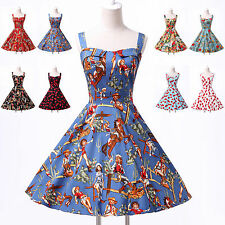 Floral + WOMEN Retro Swing 50's Housewife Rockabilly Pinup Prom Vintage Dresses