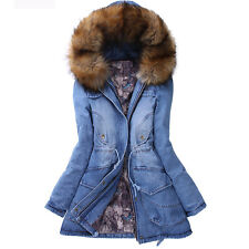 2015 New Women's fashion hooded thick denim padded jacket fur casual trench coat