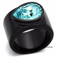 WOMEN'S AQUAMARINE AAA CZ BLACK STAINLESS STEEL WIDE BAND FASHION RING SIZE 5-10