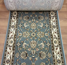 """Rug Depot Hall and Stair Runner Remnants- 26"""" Wide- Triumph H1001-485 Light Blue"""
