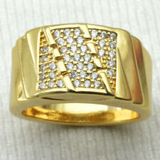 Size 9- 15 Jewelry Man's Clear Sapphire 18K Yellow Gold Filled Ring Gift (r211)