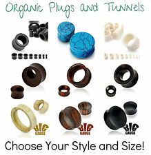 1 x ORGANIC WOOD EAR PLUG FLESH TUNNEL STRETCHER FLARED - CHOOSE STYLE AND SIZE!