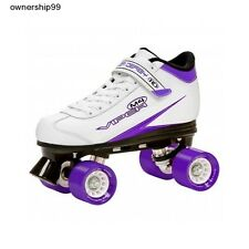 Womens Roller Skates Derby Style White Purple Wheels Quad Size Girls Kids Rink