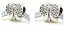Wholesale 10/20/40pcs Ancient Silver big hole butterfly alloy spacer bead