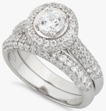 Pure 925 .925 Sterling Silver Zirconia CZ Round Halo Wedding Engagement Ring Set