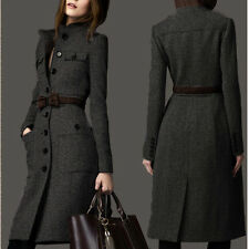 Korean Women Lapel Wool Cashmere Long Winter Parka Coat Trench Outwear Jacket L