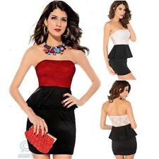 Sexy Strapless Lace Peplum Elastic Bodycon Casual Clubwear Evening Party Dress