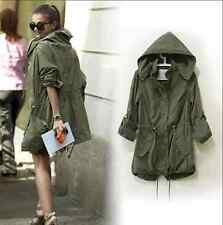 2015 Women Hoodie Drawstring Army Green Military Trench Parka Jacket Coat