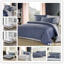 Single/DB/Queen/King Size Bed Quilt/Duvet/Doona Cover Set Fitted Sheets Cotton