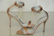 $830 New Manolo Blahnik EUFIDA Beige Nude Satin JEWELED CRYSTAL Sandals Shoes 37