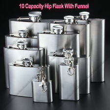 1-18oz Silver Stainless Steel Hip Flask Flagon Whiskey Wine Pot Bottle w/Funnel