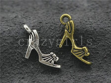 10/40/200pcs Tibet silver/Bronze Two-Sided 3D High heel Charms Pendant 20x12mm