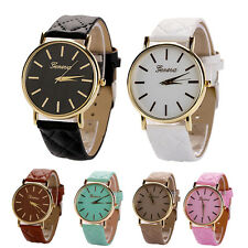 Geneva Womens Girl Watches Grid Leather Band Analog Quartz Dress Wrist Watch New