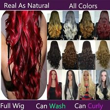 USA Seller Real As Natural 25'' Long Straight Curl Ombre Hair Wig 3/4 Full Wigs
