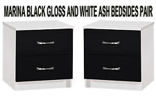 Black Gloss & Ash White Set of 2 Bedside Cabinets Side Lamp Tables Modern Units