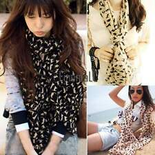 Women Fashion Cat Print Long Style Wrap Lady Shawl Chiffon Scarf Scarves LM