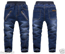 Kids Boys Fashion Long Trousers Zip Denim Pants Casual Children Jeans Clothing