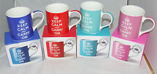 KEEP CALM & CARRY ON MUG / CUP BOXED NEW CHOOSE RED, BLUE, TURQUOISE OR PINK