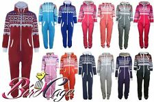 NEW UNISEX WOMEN MEN HOODED ZIP AZTEC ONSIE PLAYSUIT LADIES ALL IN ONE JUMPSUIT